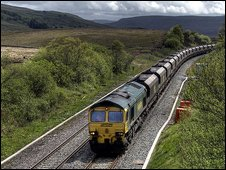 Class 66 hauled train at Hellgill on the Settle to Carlisle line.