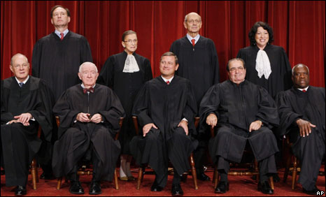 Seated, from left: Anthony Kennedy, John Paul Stevens, John Roberts, Antonin Scalia, Clarence Thomas. Standing from left: Samuel Alito, Ruth Bader Ginsburg, Stephen Brey, Sonia Sotomayor