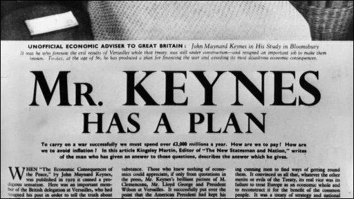 Image from newspaper article focuing on John Maynard Keynes