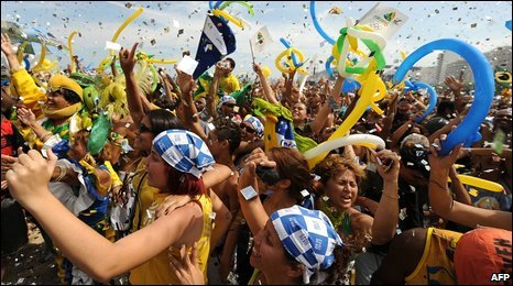 Crowd celebrates on Copacabana Beach, Rio de Janeiro, Brazil, 2 October 2009