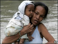 A woman with her child in Rizal province