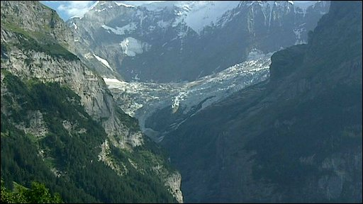 Valley once covered by a glacier in the Swiss Alps