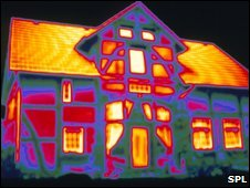 Thermogram showing heat loss from house