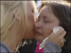 Mark Quinsey's mother,  Pamela, is comforted by her daughter,  Jaime