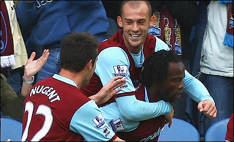 Burnley trio David Nugent (left), Seven Fletcher (centre) and Andre Bikey celebrate the latter's goal against Birmingham
