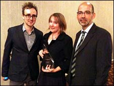 BBC News website staff Tom Housden, Bella Hurrell and Giles Wilson with award