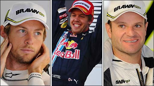 Jenson Button, Sebastian Vettel and Rubens Barrichello
