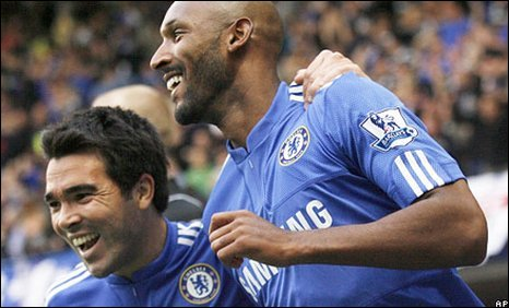 Nicolas Anelka celebrates with Deco