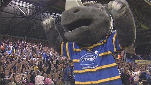 Leeds Rhinos mascot celebrates victory