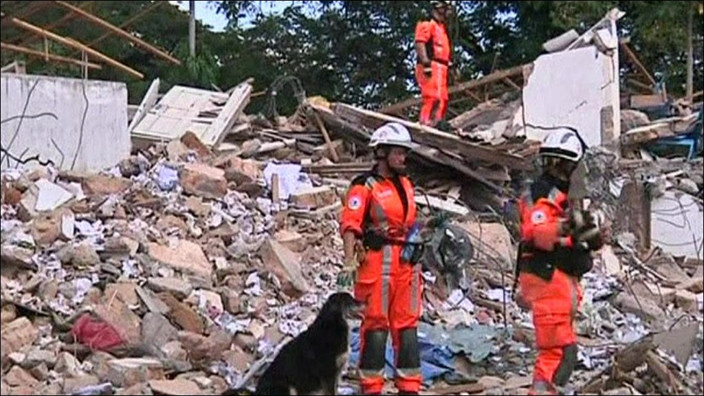 Rescue workers in Sumatra, Indonesia