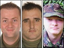 Flt Lt David Sale, Sgt Phillip Burfoot and Pte Sean Tait