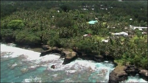 Aerial footage of Samoa's battered coastline