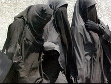 Egyptian women in full veil, or niqab