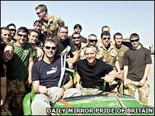 Andrew Flintoff and Gary Lineker meet troops