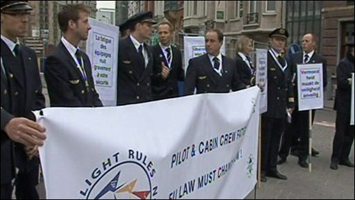 Pilots protest outside the European Parliament in Brussels