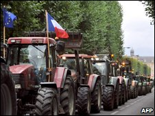Farmers protest in tractors