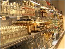 Alcohol on shelves