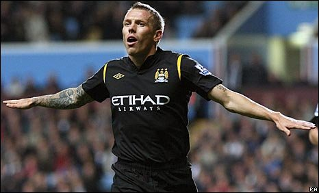 Craig Bellamy celebrates scoring the equaliser on Monday night at Villa Park