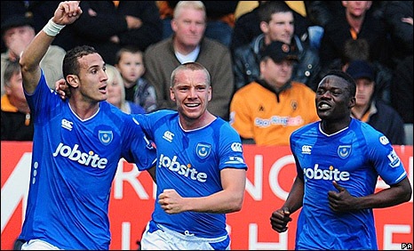 "Hassan Yebda (left) celebrates scoring against Wolves with Jamie O""Hara (centre) and Aruna Dindane"