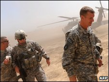 US General Stanley McChrystal (R) arriving at the Baraki Barak Joint combat Outpost (JCOP) in Logar Province