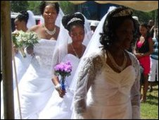 The brides walking down the aisle