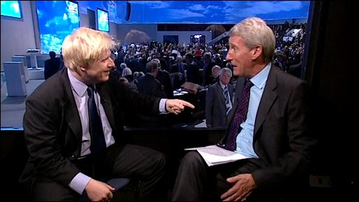 Boris Johnson and Jeremy Paxman (left)