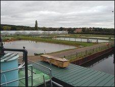 Elevated view over Calverton Fish Farm