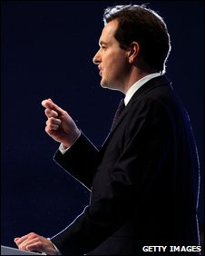 Shadow chancellor George Osborne gives his keynote speech to delegates on the second day of the Conservative Party Conference on October 6, 2009 in Manchester.