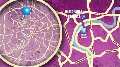 Map shows the loaction of Ristorante Pallotta