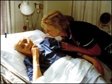 Dementia patient in a hospital bed