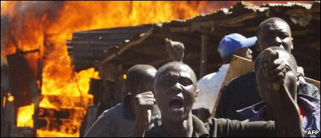 Residents of the Mathare slum in Nairobi during riots in 2008