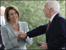 Nancy Pelosi and John McCain, 6 Oct 2009