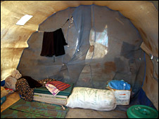 Inside of tent at Menik Farm