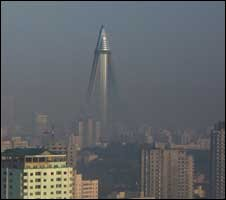 The Ryugyong Hotel is still being worked on