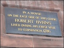 A plaque in Edinburgh