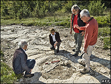 Scientists study dinosaur footprints at Plagne