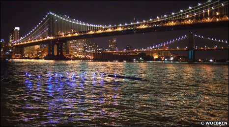 Plastic tubes in the water underneath the Manhattan Bridge, New York (C Woebken)