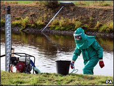 Environment Agency officers at the River Trent