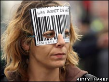 Protester with barcode mask