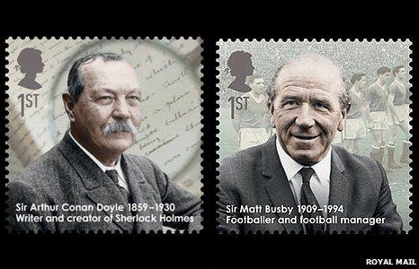 Sir Arthur Conan Doyle and Sir Matt Busby stamps