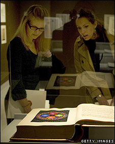 Visitors look at Jung's Red Book