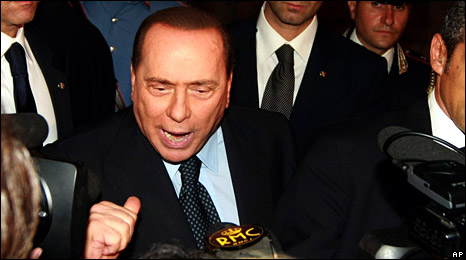 Silvio Berlusconi after the court ruling (7 October 2009)