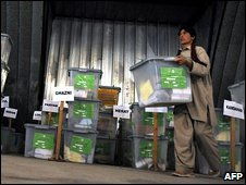An Afghan election carries a ballot box during the audit process