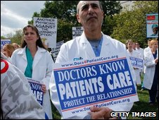 Doctors during a protest on 1 October against President Obama's healthcare plans