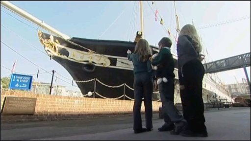 Children point to ss Great Britain