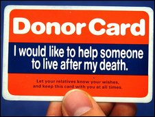 Organ donor card pic Stephen Kelly PA Wire