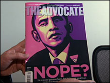The Advocate cover featuring Barack Obama