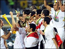 Egypt celebrate winning the 2008 Africa Cup of Nations in Ghana
