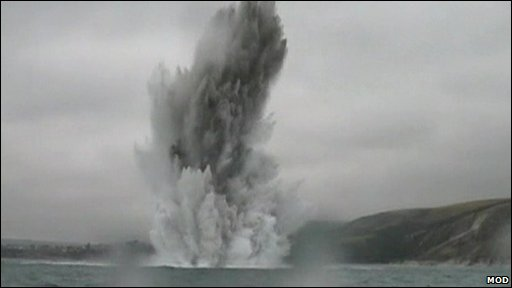 Water plume created by bomb being detonated