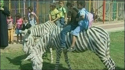 Children in Gaza play with dyed donkeys at zoo